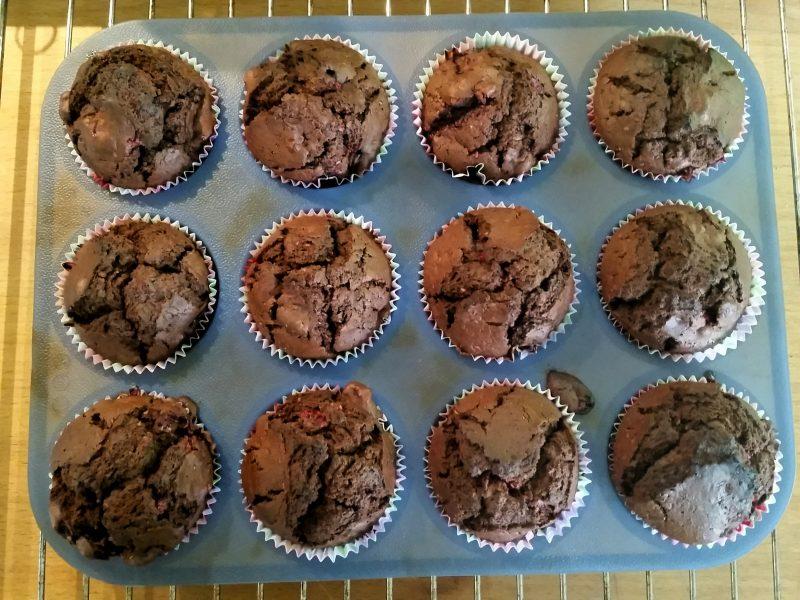 Choklad- och hallonmuffins